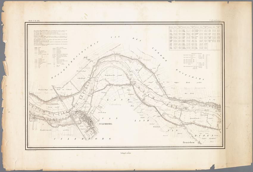 complete kaart van de Lek en Culemborg